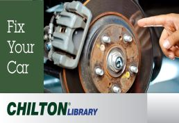 Man fixing brakes  words fix your car Chilton Library