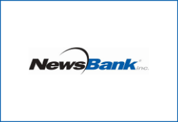 newsbank in black and blue with swirl