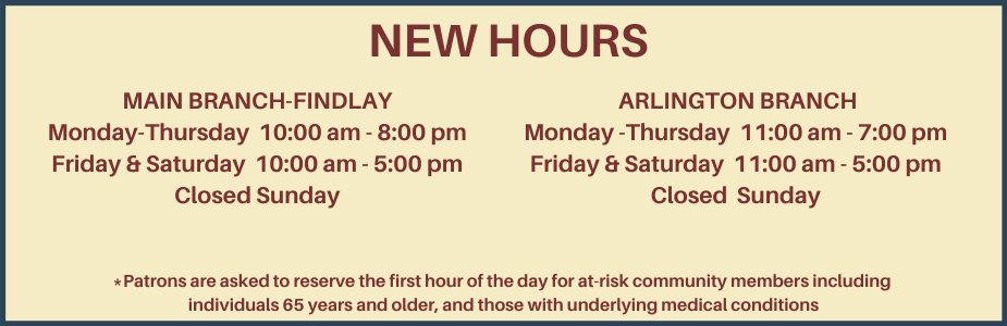 temporary new hours in red type